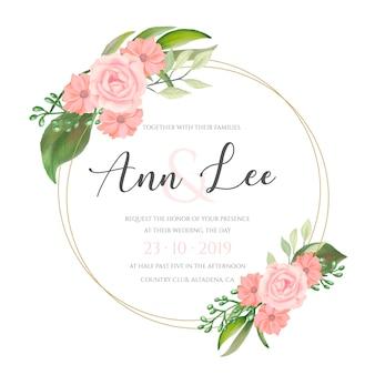Lindo cartão de casamento com flores em aquarela