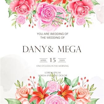Lindo cartão de casamento com fundo aquarela