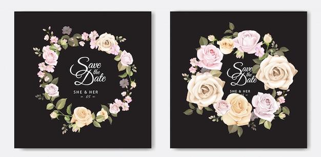 Lindo cartão de casamento com modelo floral e folhas