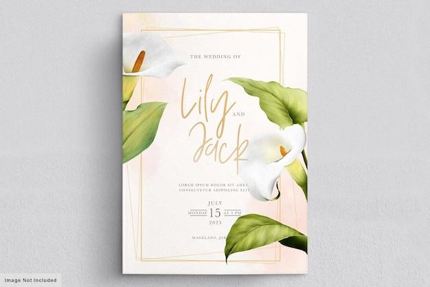 Lindo cartão de casamento de flores de lírio