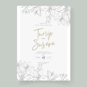 Lindo cartão de casamento desenhado à mão flores de lírio