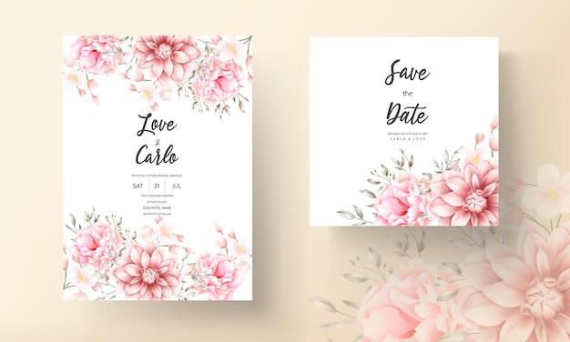 Lindo cartão de casamento em aquarela floral em pêssego macio e marrom