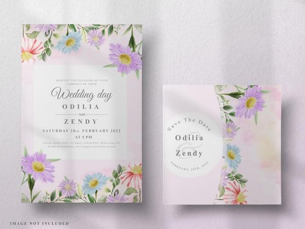 Lindo cartão de casamento em aquarela floral
