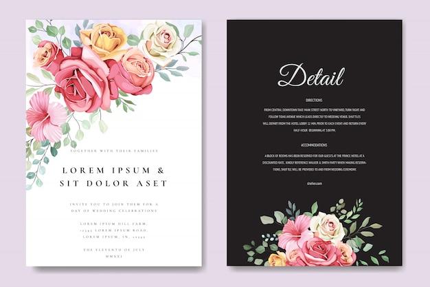 Lindo cartão de casamento em modelo de rosas elegantes