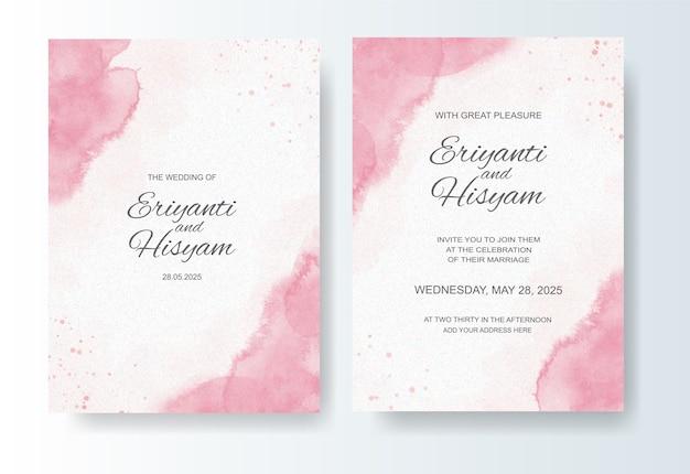 Lindo cartão de casamento fundo aquarela com splash
