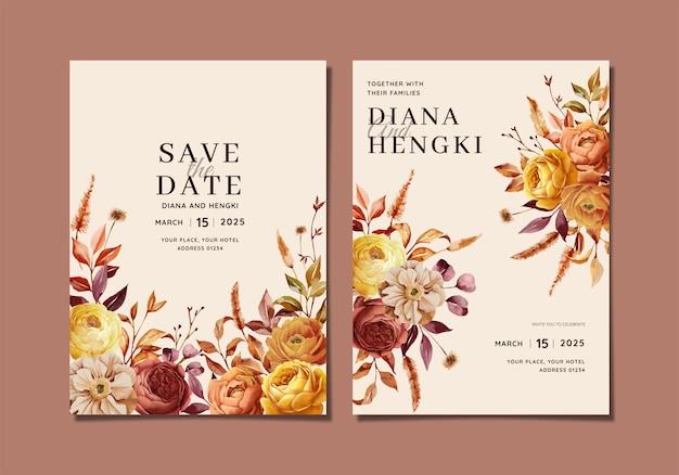 Lindo cartão de convite de casamento com a natureza do outono