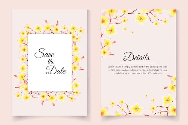 Lindo cartão de convite de casamento com aquarela floral