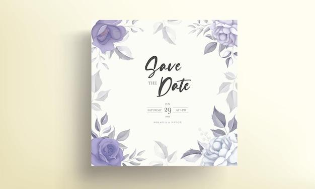 Lindo cartão de convite de casamento com decoração de flor roxa