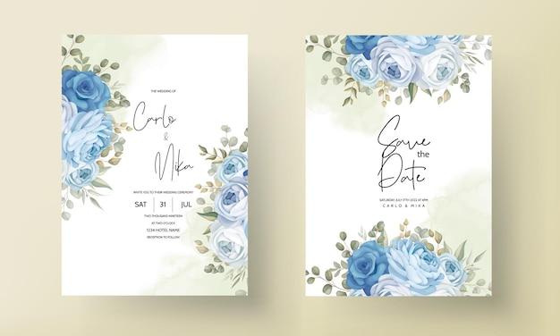 Lindo cartão de convite de casamento com decorações de peônias azuis desenhadas à mão