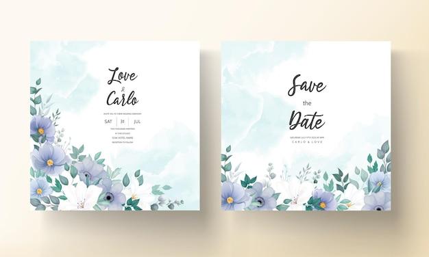 Lindo cartão de convite de casamento com flor azul