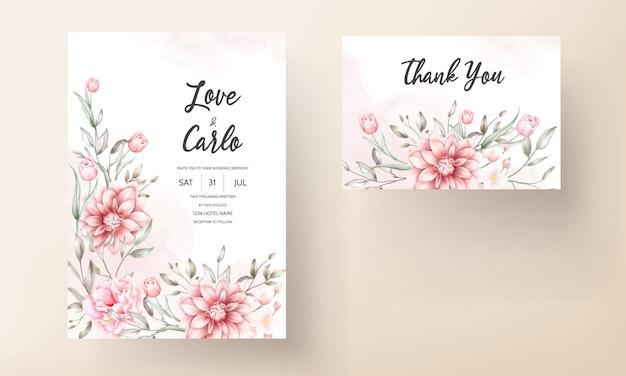 Lindo cartão de convite de casamento com flores em aquarela