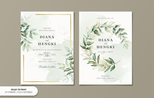 Lindo cartão de convite de casamento com folhas em aquarela