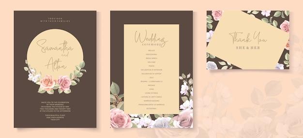 Lindo cartão de convite de casamento com guirlanda floral