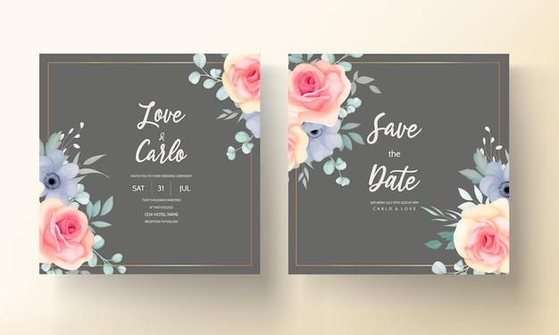 Lindo cartão de convite de casamento com linda decoração de flores