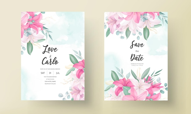 Lindo cartão de convite de casamento de flor de lírio rosa