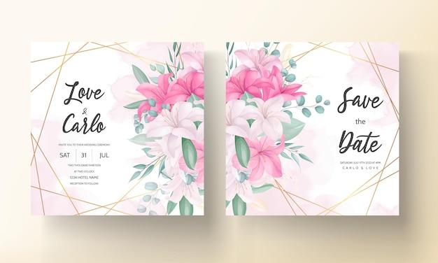 Lindo cartão de convite de casamento de flor de lírio