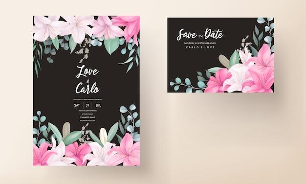 Lindo cartão de convite de casamento de flor de lírio Vetor Premium