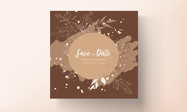 Lindo cartão de convite de casamento de flor e folha monoline