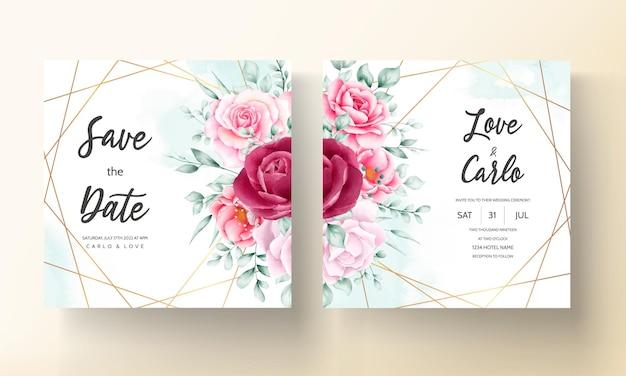Lindo cartão de convite de casamento de flor em aquarela desenhada à mão
