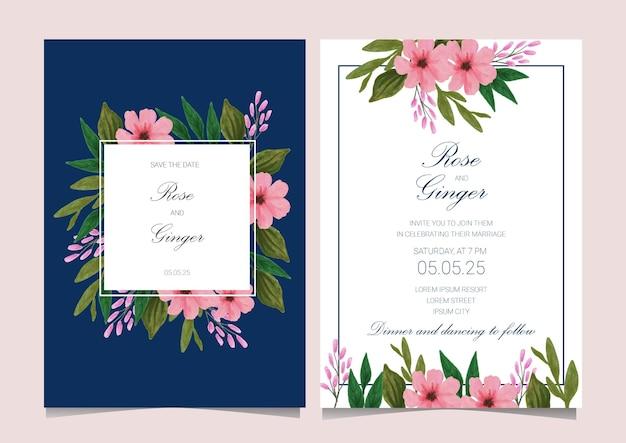 Lindo cartão de convite de casamento de flores em aquarela