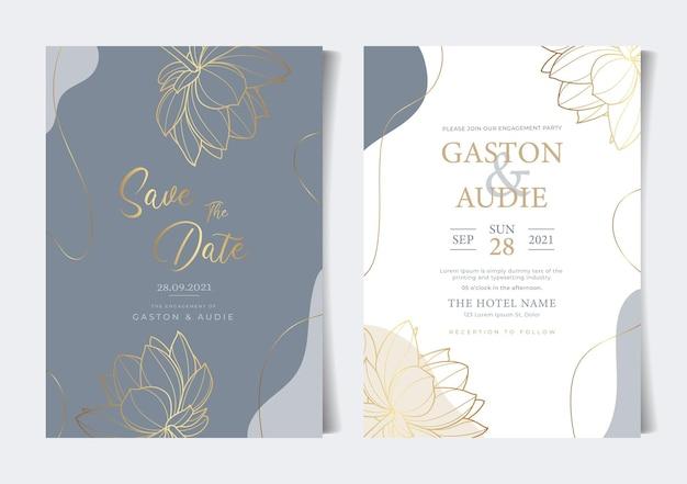 Lindo cartão de convite de casamento de flores florais minimalistas