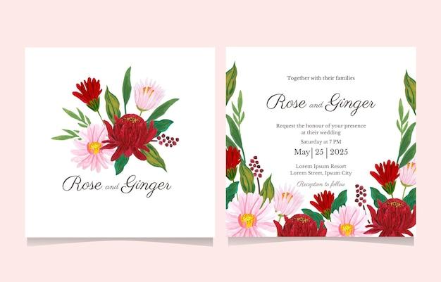 Lindo cartão de convite de casamento de flores