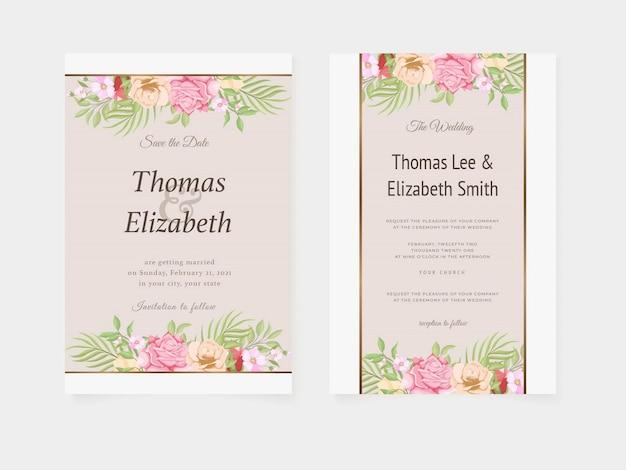 Lindo cartão de convite de casamento design de verão