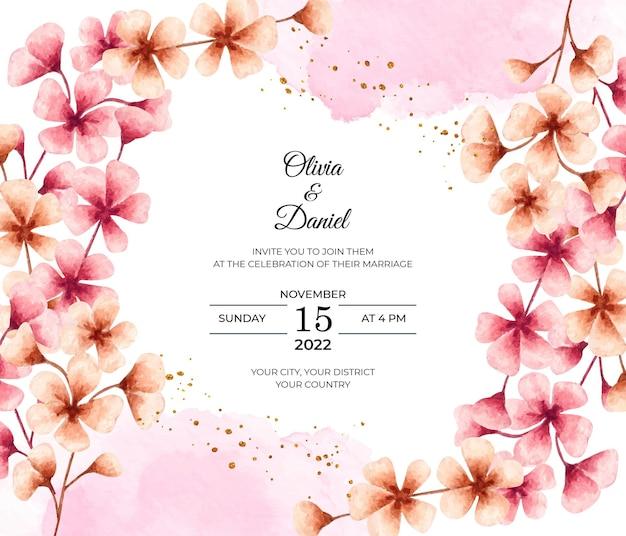 Lindo cartão de convite de casamento em aquarela de flor de cerejeira