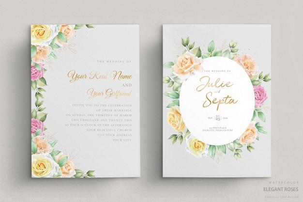 Lindo cartão de convite de casamento em aquarela
