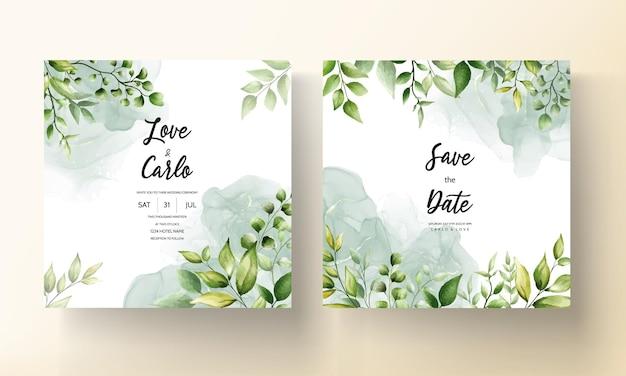 Lindo cartão de convite de casamento em folha de aquarela com tinta alcoólica