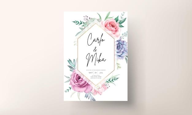 Lindo cartão de convite de casamento floral em aquarela com rosas e suculentas