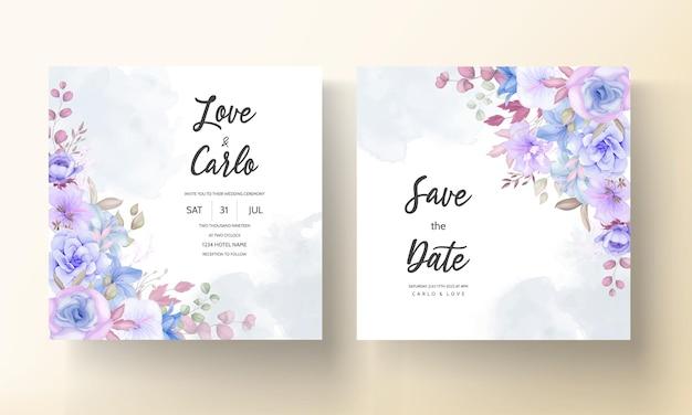 Lindo cartão de convite de casamento floral rosa e azul suave