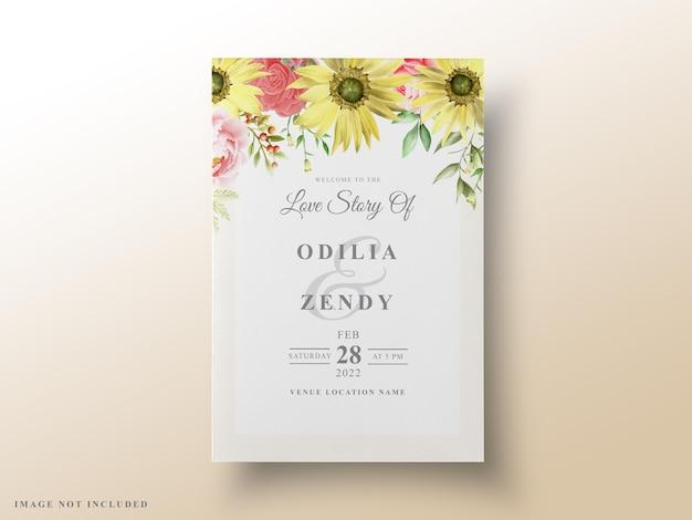 Lindo cartão de convite de casamento floral