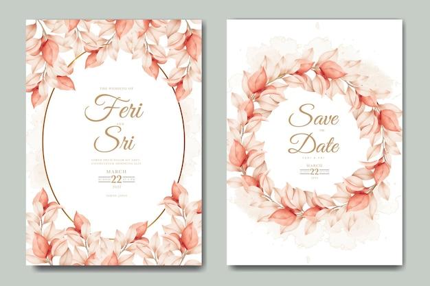 Lindo cartão de convite de casamento outono