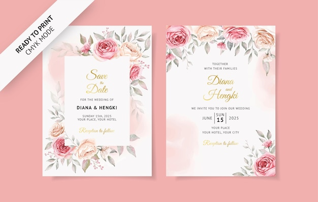 Lindo cartão de convite de casamento rosa suave