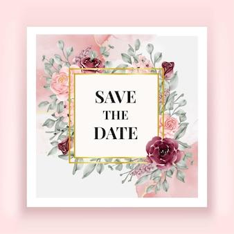 Lindo cartão de data em aquarela com flor de rosa