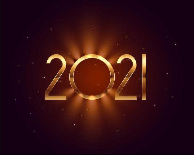 Lindo cartão de desejos de ano novo de 2021 com efeito de luz