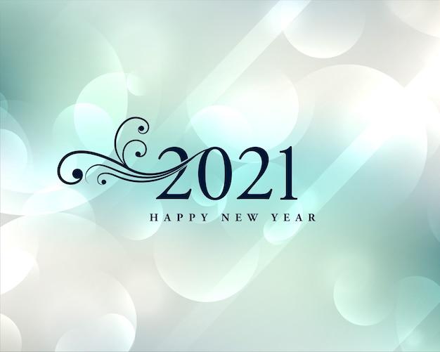 Lindo cartão de desejos de ano novo de 2021 com fundo bokeh