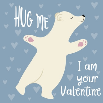 Lindo cartão de dia dos namorados com urso polar