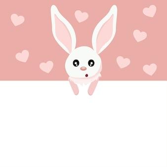 Lindo cartão de dia dos namorados de coelho bebê com sinal para escrever