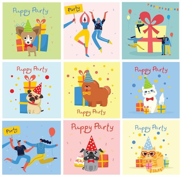 Lindo cartão de felicitações com presentes e cachorrinhos, cães e gatos em estilo simples