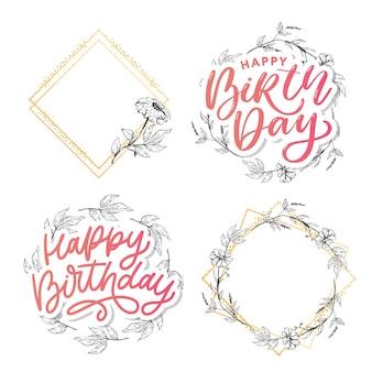 Lindo cartão de feliz aniversário com flores e pássaros. convite para festa de vetor com elementos florais.