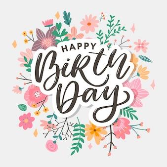 Lindo cartão de feliz aniversário com ilustração de flores