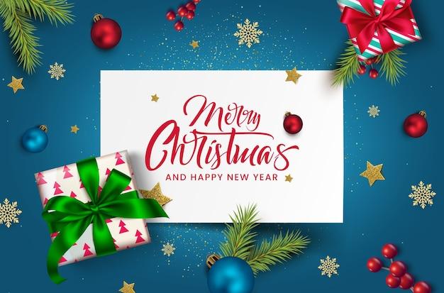 Lindo cartão de feliz natal com celebração de ano novo.