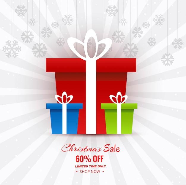 Lindo cartão de feliz natal com fundo de venda de natal de caixa de presente