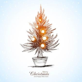 Lindo cartão de feliz natal com pinheiro iluminado