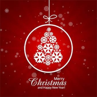 Lindo cartão de feliz natal com vetor de fundo de bola