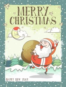 Lindo cartão de feliz natal ou pôster com o papai noel