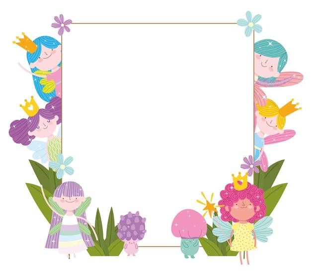 Lindo cartão de flores fofas fadas