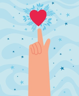 Lindo cartão de mão com coração